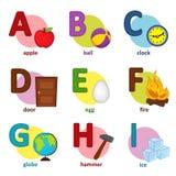 Inglés del alfabeto de A a I Imagen de archivo libre de regalías