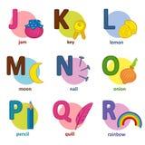 Inglés del alfabeto de J a R Fotos de archivo libres de regalías