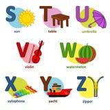 Inglés del alfabeto de S a Z Foto de archivo libre de regalías