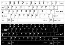 Inglés, nosotros blancos y disposición de teclado negra Imágenes de archivo libres de regalías