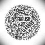 inglés Palabras de la nube sobre la lengua inglesa Fotografía de archivo