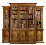 Inglês antigo velho do breakfront do armário da biblioteca com livros Imagem de Stock