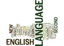 Inglês como o conceito da nuvem da palavra do fundo do texto da língua de A segundo ilustração stock