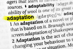 ` Inglês destacado da adaptação do ` da palavra e sua definição no dicionário imagem de stock royalty free