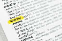 ` Inglês destacado da anarquia do ` da palavra e sua definição no dicionário imagens de stock royalty free