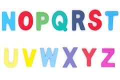 Inglês principal do alfabeto do A-Z colorido de madeira da letra Fotografia de Stock Royalty Free