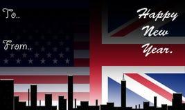 Inglaterra & América, ano novo feliz. ilustração do vetor
