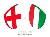 Inglaterra contra Itália, rugby 2019 seis campeonatos das nações, círculo 4 ilustração do vetor