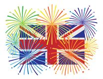 Inglaterra Jack Union Flag Fireworks Illustration ilustración del vector