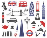 Inglaterra, Londres, Reino Unido Coleção de ícones lisos ilustração royalty free