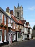 Inglaterra: rua histórica em Norwich Fotos de Stock Royalty Free