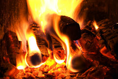 Ingle hearth. Closeup of firing - flame background royalty free stock images