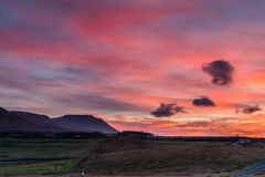 Ingleborough at sunset Stock Photography