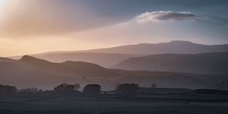 Ingleborough and the hills around Settle, Yorkshire Dales royalty free stock photography