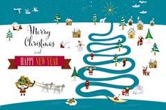 Inglese dell'albero del fiume di Natale Immagini Stock Libere da Diritti