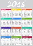 INGLESE 2016 di Kalendar B Fotografia Stock