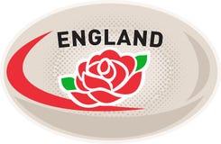Inglese Rosa dell'Inghilterra della sfera di rugby Immagini Stock