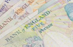 Ingleses cinco dez e vinte libras Imagem de Stock