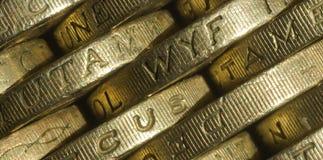 Ingleses moedas de uma libra Fotografia de Stock