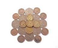 Ingleses, Reino Unido, moedas Imagem de Stock Royalty Free