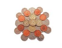 Ingleses, Reino Unido, moedas Fotos de Stock Royalty Free