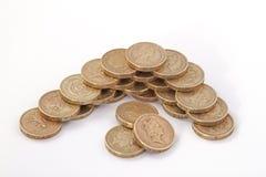Ingleses, Reino Unido, moedas de libra Fotos de Stock Royalty Free