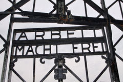 ingång för lägerkoncentrationsdachau Arkivbilder