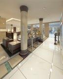 Ingången till lobbyen är resort&en x27; s-lyx Spa Royaltyfria Foton