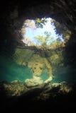 Ingångsområde av den undervattens- grottan för cenote Arkivfoto