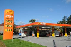 INGO GAS STATION. Copenhagen /Denmark - 09 October  2017.    INGO gas station.    Photo.Francis Dean/Dean Pictures Royalty Free Stock Photos
