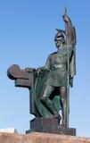 Ingolf Arnarson雕象在Arnarholl,雷克雅未克,冰岛 免版税图库摄影