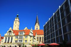 Ingolstadt is a city in Bavaria / Germany with many historical attractions. Ingolstadt Bavaria / Germany - 08 17 2018: Ingolstadt is a city Germany, with many royalty free stock photo