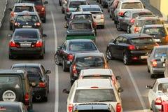 Ingorghi stradali all'ora di punta. Fotografie Stock Libere da Diritti
