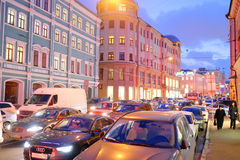 Ingorghi stradali in città Mosca Immagini Stock Libere da Diritti