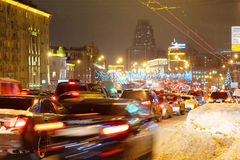 Ingorghi stradali di Multikilometer sulle strade Immagine Stock