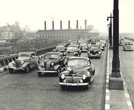 ingorgo di traffico degli anni 40 in New York Immagini Stock Libere da Diritti