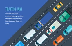 Ingorgo stradale Circolazione intorno alla città ed alla strada principale, autostrada royalty illustrazione gratis