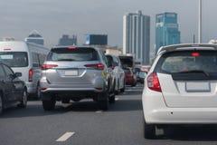 Ingorgo stradale con la fila delle automobili Immagine Stock Libera da Diritti