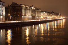 Ingorgo stradale di notte Fotografia Stock