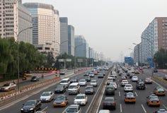 Ingorgo stradale di ora di punta a Pechino, Cina Fotografia Stock
