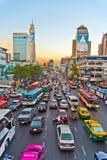 Ingorgo stradale durante l'ora di punta a Bangkok Fotografia Stock Libera da Diritti