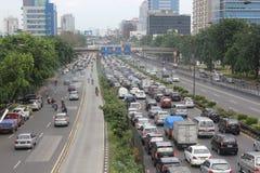 Ingorgo stradale a Jakarta Fotografie Stock Libere da Diritti