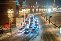 Ingorgo stradale a Mosca Fotografie Stock Libere da Diritti