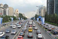 Ingorgo stradale nel distretto aziendale centrale di Pechino Fotografia Stock