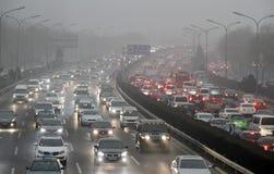 Ingorgo stradale a Pechino, Cina Immagini Stock Libere da Diritti