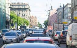 Ingorgo stradale a St Petersburg Immagine Stock Libera da Diritti