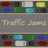 Ingorgo stradale sulla strada a doppio senso di circolazione illustrazione di stock