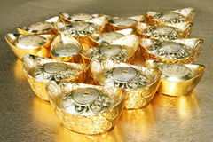 Chinese Golden Ingot. The Golden ingot Chinese style royalty free stock photo
