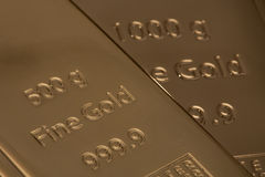 Ingot of bank gold. Stock Image