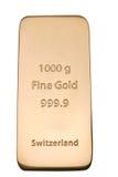 Ingot of bank gold. Royalty Free Stock Photo